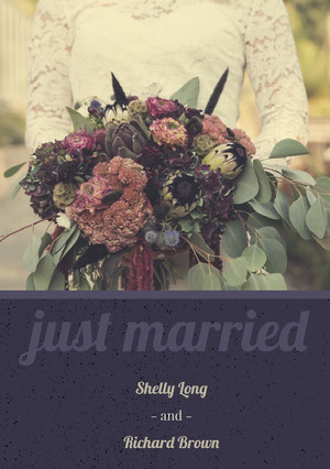 Purple Wedding Announcement Card with Photo of Bride holding Bouquet 結婚通知
