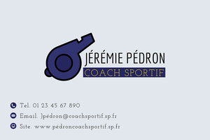Blue and Yellow Sports Coach Business Card Carte de visite