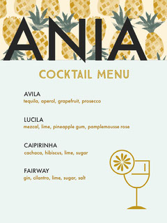 Black and Blue Cocktail Menu Cocktails