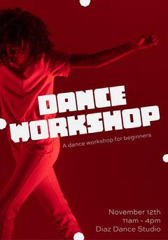 Red Dance Workshop Flyer A5 Dance Flyer