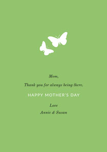 Green Mothers Day Card with Butterflies Mother's Day Card