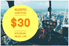 Helicopter Flight Lesson Ad with Aerial View of City Educational Course