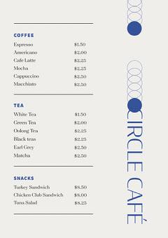 Blue and White, Light Toned, Schematic, Cafe Menu Coffee Menu