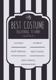 Black and White Stripes and Skull Halloween Party Best Costume Card Festa di Halloween