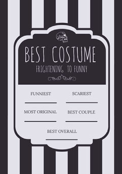 Black White Stripes Halloween Party Costume Card Halloween Costume Contest