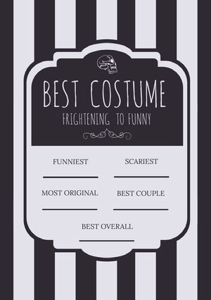 Black and White Stripes and Skull Halloween Party Best Costume Card Halloween Party