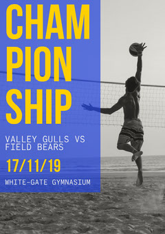 Blue and Yellow Volleyball Match Poster Black And White