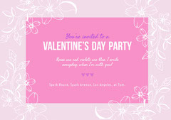 Pink Floral Valentine's Day Party Invitation Card Valentine's Day