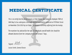 Medical Certificate  Blue