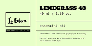 Lime Color Lemongrass Essential Oil Aromatherapy Product Label Etikett