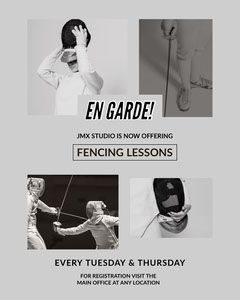 Black and Grey Fencing Lessons Social Post Gym