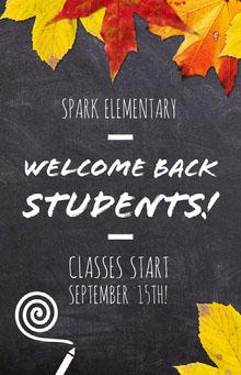 Blackboard Back to School Flyer with Autumn Leaves School Posters