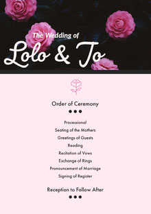 Black and White Wedding Ceremony Program Programa de bodas