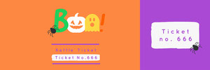 Violet and Orange Boo Costume Halloween Party Raffle Ticket Boleto de sorteo