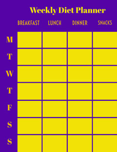 Purple Yellow Weekly Diet Planner Letter Neon