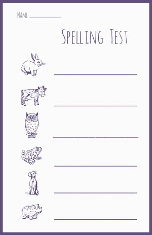 Purple and white animal spelling test worksheet  Työkirja