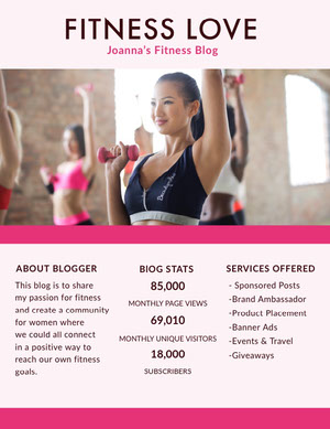 Pink Fitness Blogger Media Kit with Woman Exercising Photo Mediesæt
