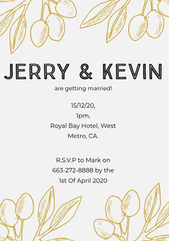 winter wedding invitation card Gold