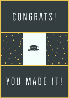 Gold and Black Graduation Congratulations Card College