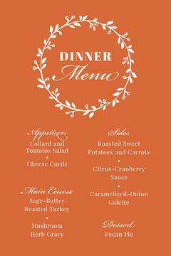 Thanksgiving Give Thanks Menu Thanksgiving Menu