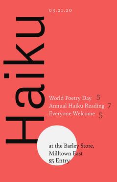 Red Black and White Haiku Japanese Poetry Poster Japan