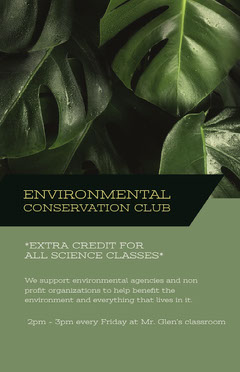 ENVIRONMENTAL CONSERVATION CLUB Benefit Flyer