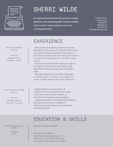 Violet and Grey Professional Resume Best Fonts for Your Résumé