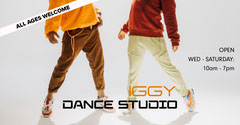 Orange and Black Iggy Dance Studio Facebook Post  Hip Hop Flyer