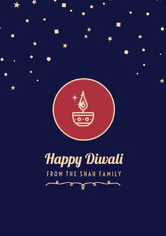 Navy Blue and White Happy Diwali Card Religion
