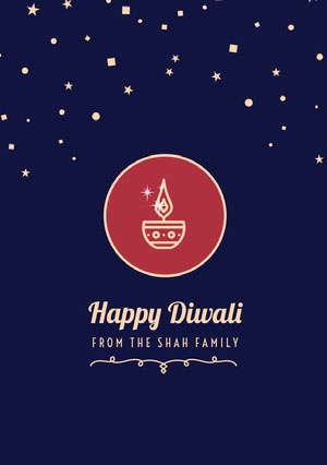 Navy Blue and White Happy Diwali Card Diwali