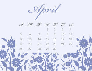 Blue Elegant Calligraphy Floral April Calendar 달력