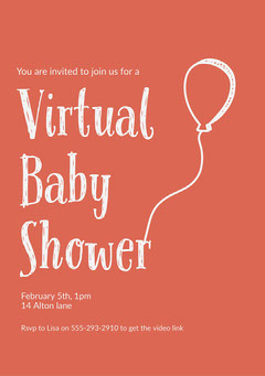 Red balloon Virtual Baby Shower Invite A5 Baby's First Year