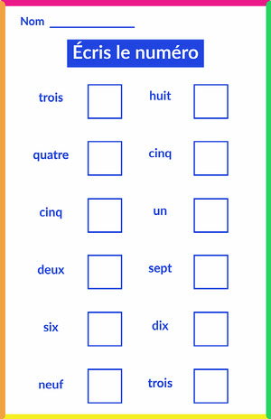 neon write the number worksheet - poster  Fiche d'exercices