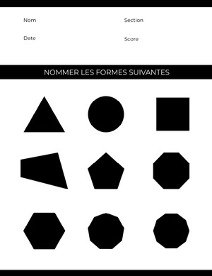 shapes worksheet Fiche d'exercices