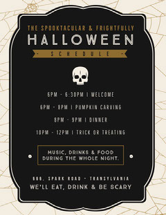 Halloween Spider Skull Party Schedule Halloween Party Schedule