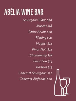 Claret and White Wine Bar Menu Drink Menu