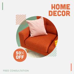 Orange and Green, Home Decor Sale Ad, Instagram Square Decor