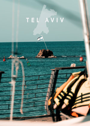Tel Aviv Israel Postcard with Flag in Sea and Boat Rejsepostkort