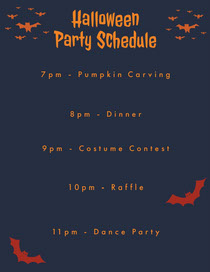 Orange and Black Halloween Spooky Bat Party Program Scary