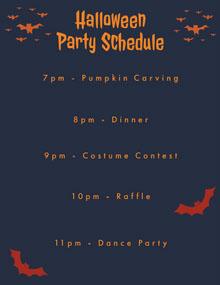 Halloween Spooky Bat Party Schedule Aikataulu