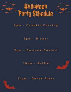 Halloween Spooky Bat Party Schedule Halloween Party Schedule