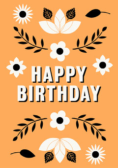 Happy Birthday Card  Flowers