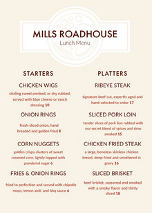 MILLS ROADHOUSE BBQ Menu