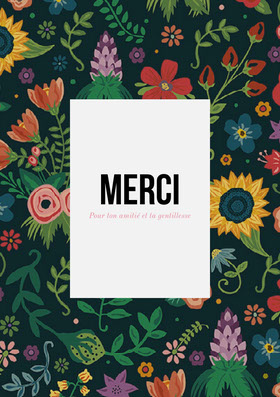 colorful floral patterned thank you cards  Carte de remerciement
