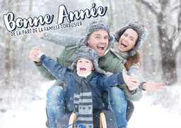 Blue Family Happy New Year Card