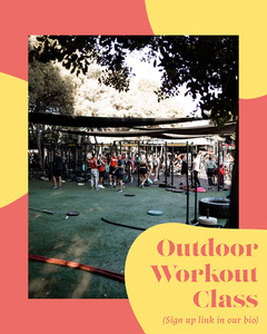 Yellow & Pink Outdoor Workout Class Instagram Portrait Workout