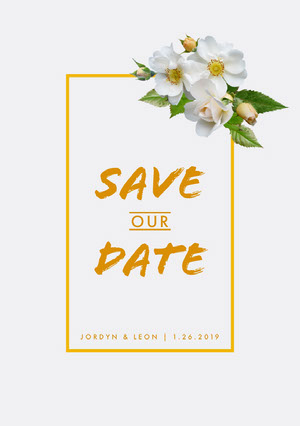 Orange Save the Date Wedding Announcement Card with Flowers 結婚通知