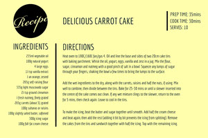 Yellow Carrot Cake Recipe Card 조리법 카드