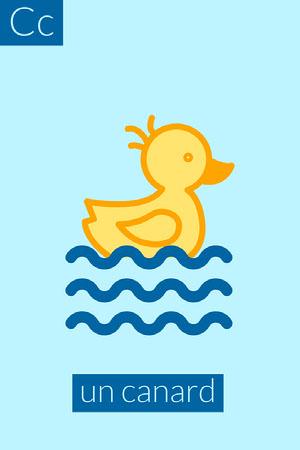 Blue Duck C Alphabet Flashcard Fiche mémoire