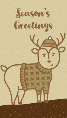 Brown and Beige Deer Seasons Greetings Gift Tag Tarjetas